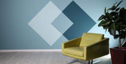 τοίχος με ρόμβους σε αποχρώσεις του μπλε